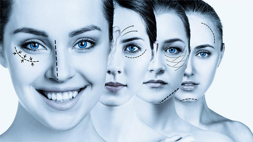 Modelo de tratamiento de rejuvenecimiento facial.